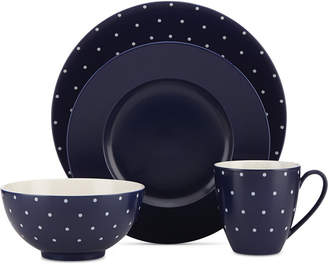 Kate Spade Larabee Dot Navy Collection Stoneware 4-Pc. Place Setting