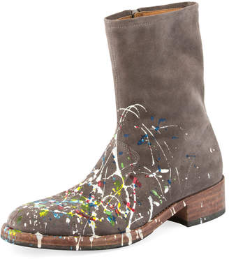 Maison Margiela Tall Splatter Paint Suede Boot, Gray Pattern