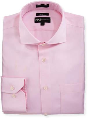 Neiman Marcus Trim-Fit Non-Iron Pinstriped Dress Shirt, Pink