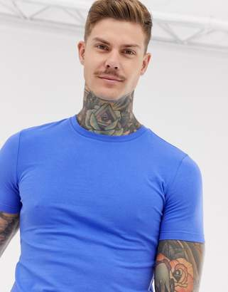 680c7db3 Asos Design DESIGN organic muscle fit crew neck t-shirt with stretch in blue