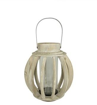 "Kaemingk 14.75"" Seaside Treasures Rustic Chic Drift Wood Sphere and Glass Hurricane Pillar Candle Lantern"