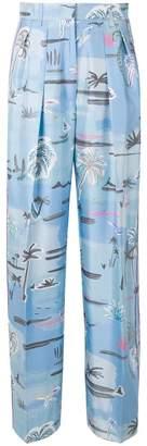 Agnona printed wide leg trousers