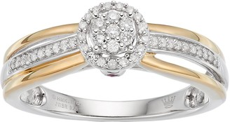 Hallmark Love Found Us Two Tone Sterling Silver 1/6 Carat T.W. Diamond Cluster Halo Ring