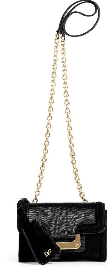 Diane von Furstenberg Black Embossed Leather/Suede New Harper Crossbody Bag