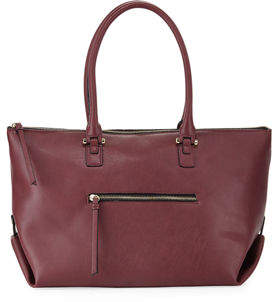 Neiman Marcus Laura Zip-Top Faux-Leather Tote Bag