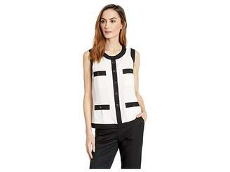 Anne Klein Side Zip Sleeveless Framed Blouse with Chest and Hip Pockets Women's Blouse