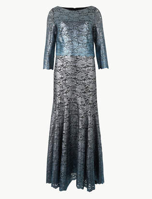 Marks and Spencer Foil Print 3/4 Sleeve Maxi Fit & Flare Dress