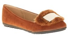 Victoria K. Victoria K Women's Soft Textured Material With Faux Fur Ornament And Solid Silver Placket Ballerina Flats