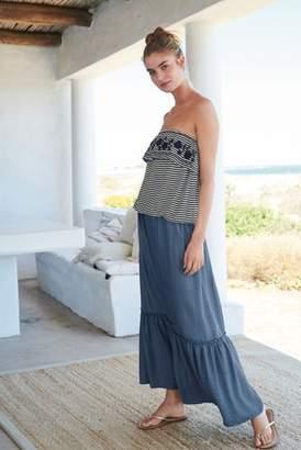 Next Womens Blue Tiered Maxi Skirt