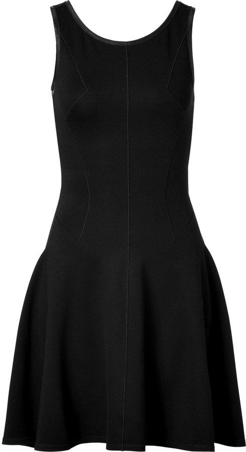 Faith Connexion Leather Trimmed Dress in Black