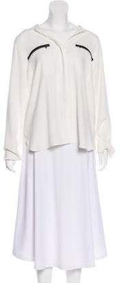 L'Agence Twill Pleated Blouse