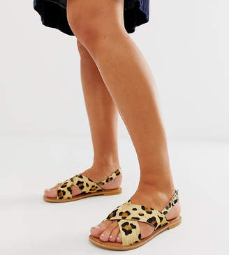 Asos Design DESIGN Wide Fit Valid leather cross strap flat sandals in leopard