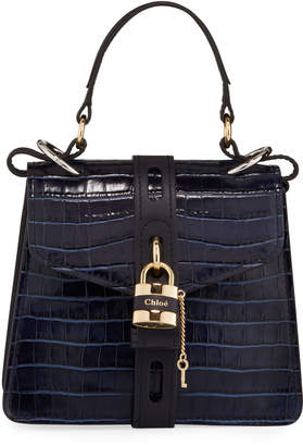 Chloé Aby Mini Crocodile-Embossed Top Handle Bag