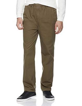 Trimthread Men's Comfort Elastic Waist Straight Fit Flat-Front Casual Chino Slack Pant (