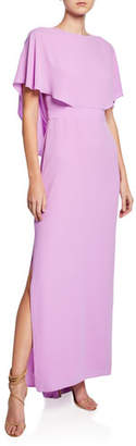 Halston Cape-Sleeve Column Gown with Draped Back Detail