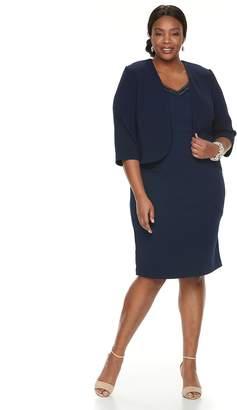 Plus Size Maya Brooke Embellished Dress & Jacket Set