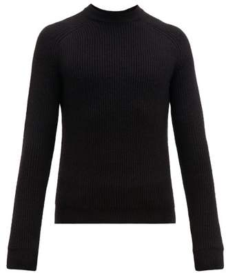 Prada Ribbed Knit Alpaca Sweater - Mens - Black