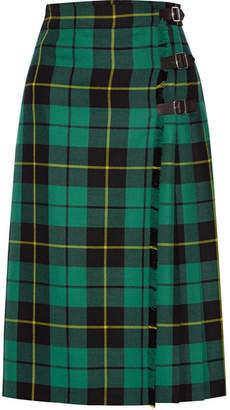 Gucci Pleated Tartan Wool Skirt - Jade