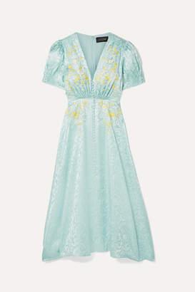 07dba9ba4 Saloni Lea Embroidered Silk-satin Jacquard Midi Dress - Mint