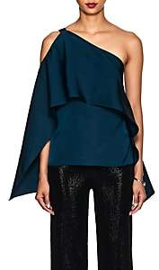 Narciso Rodriguez Women's One-Shoulder Silk Satin Draped Top-Teal