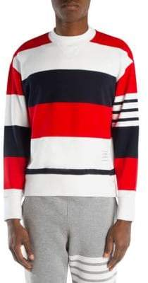 Thom Browne Colorblock Stripe Drop Shoulder Sweater