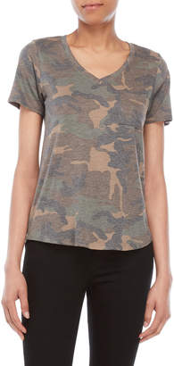 Femme By Tresics Camo Print Pocket V-Neck Tee