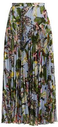Erdem Nesrine Facette Dream Bird Print Midi Skirt - Womens - Blue Multi