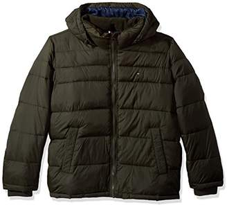 Tommy Hilfiger Men's Big and Tall Insulated Midlength Quilted Puffer Jacket with Fixed Hood