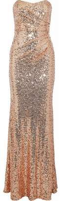 Badgley Mischka Strapless Gathered Sequined Tulle Gown