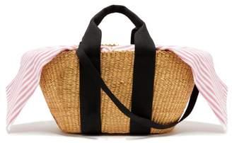 Muuñ - George Capri Woven Straw Tote Bag - Womens - Pink Stripe