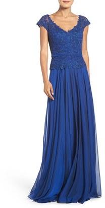 Women's La Femme Embellished Lace & Chiffon Gown $528 thestylecure.com
