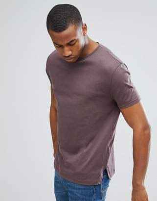 Asos DESIGN t-shirt with side splits in purple