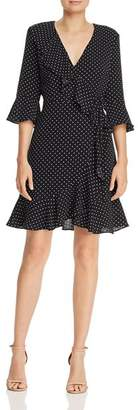 Adrianna Papell Ruffled Dot-Print Dress