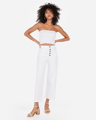 Express One Eleven Smocked Cropped Tube Top