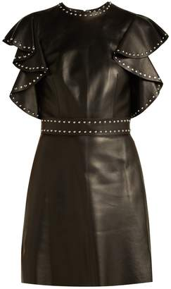 Alexander McQueen Studded-sleeve leather mini dress