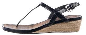 Prada Patent Leather Wedged Sandals