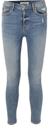 GRLFRND Kendall Petite Distressed High-rise Skinny Jeans - Mid denim