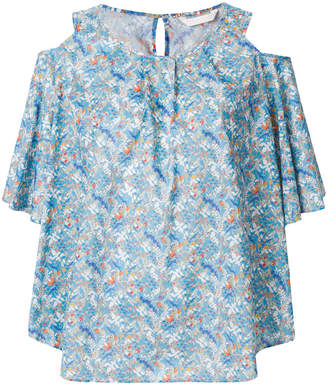 Xacus cold shoulder floral blouse
