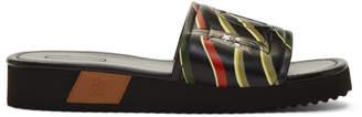 Loewe Black Paula Ibizas Edition Leather Logo Slides