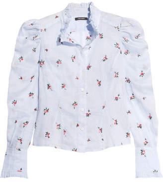 Isabel Marant Utah Embroidered Ramie Shirt - Sky blue