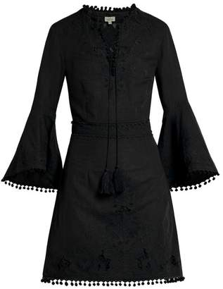Talitha - Floral Embroidered Cut Out V Neck Cotton Dress - Womens - Black