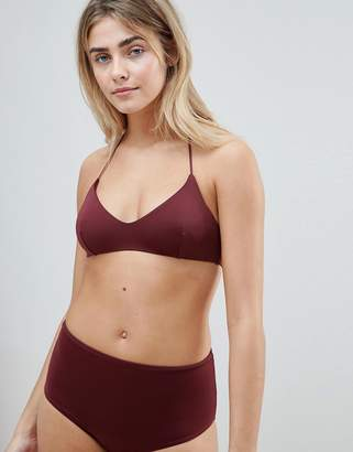 Weekday tie strappy bikini top in wine