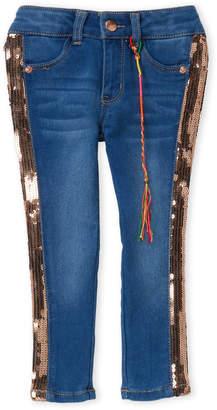 DKNY Toddler Girls) Medium Wash Sequin Stripe Skinny Jeans