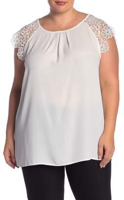 Philosophy Apparel Lace Shoulder Blouse (Plus Size)