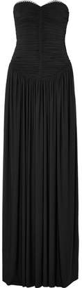 Alexander Wang Eyelet-embellished Ruched Stretch-jersey Gown - Black