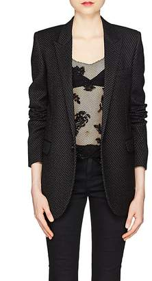 Saint Laurent Women's Striped Wool-Blend One-Button Blazer