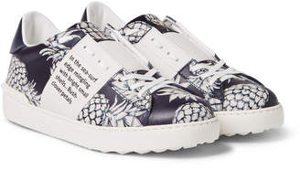 Valentino Pineapple-Print Leather Sneakers - Men - Navy