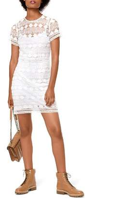 MICHAEL Michael Kors Floral Embroidered Mesh Lace Dress
