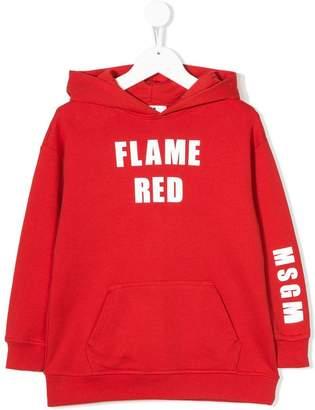MSGM Kids Flame Red hoodie