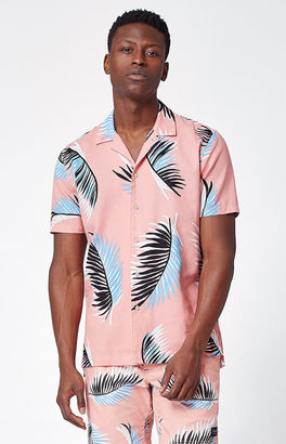 Barney Cools Palm Leaf Short Sleeve Button Up Camp Shirt $79.95 thestylecure.com